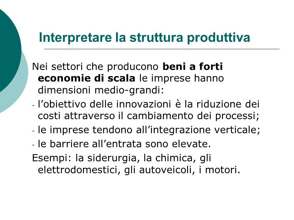 Interpretare la struttura produttiva Nei settori che producono beni a forti economie di scala le imprese hanno dimensioni medio-grandi: - l'obiettivo