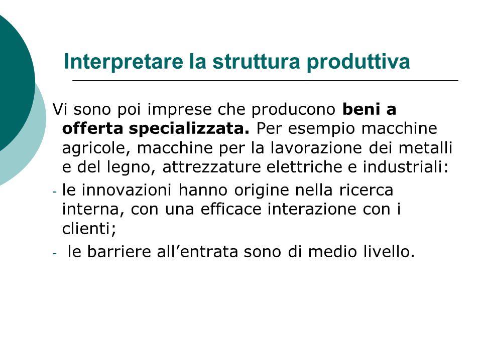 Interpretare la struttura produttiva Vi sono poi imprese che producono beni a offerta specializzata. Per esempio macchine agricole, macchine per la la
