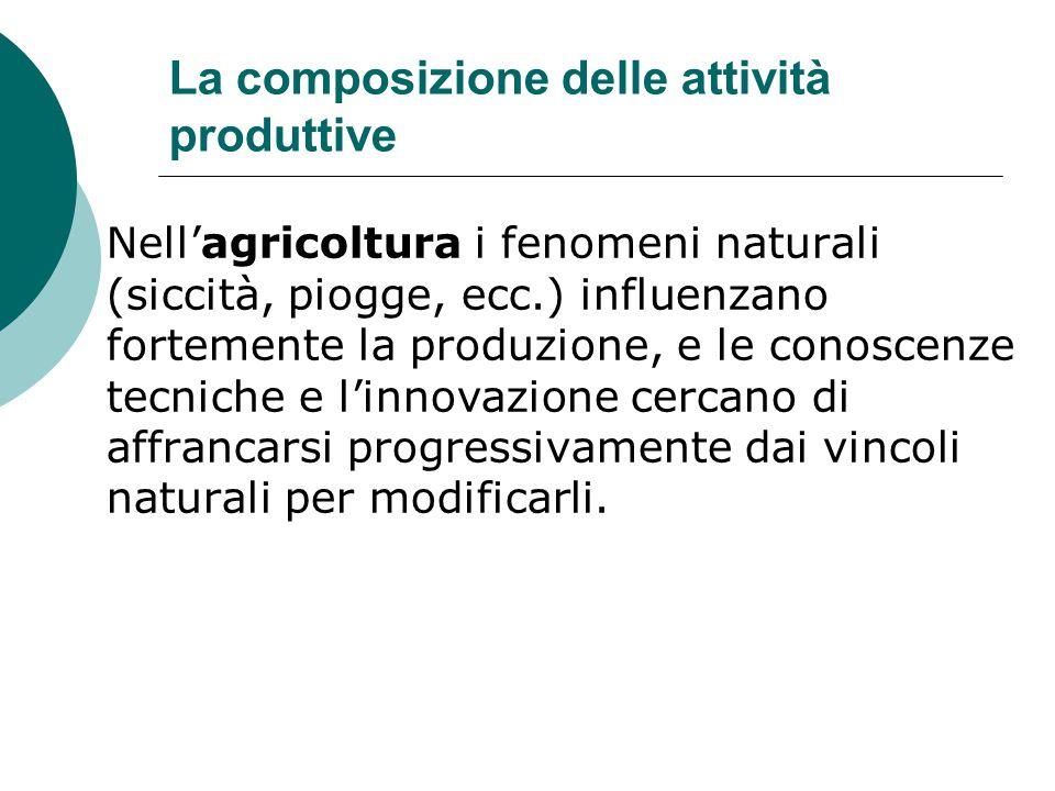 La composizione delle attività produttive Nell'agricoltura i fenomeni naturali (siccità, piogge, ecc.) influenzano fortemente la produzione, e le cono