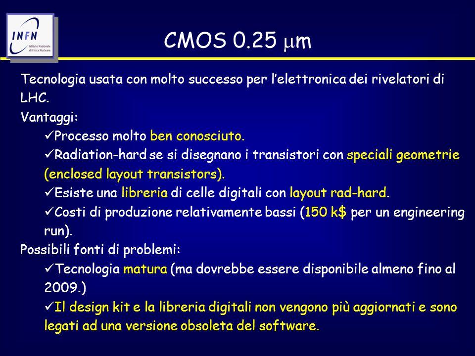 CMOS 0.25  m Tecnologia usata con molto successo per l'elettronica dei rivelatori di LHC.