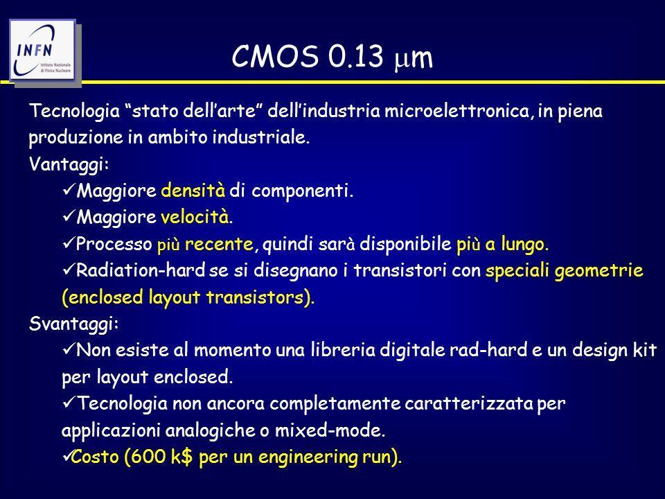CMOS 0.13  m Tecnologia stato dell'arte dell'industria microelettronica, in piena produzione in ambito industriale.