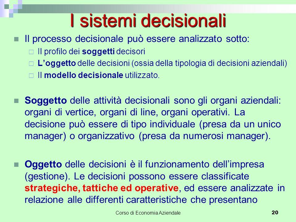 Il processo decisionale può essere analizzato sotto:  Il profilo dei soggetti decisori  L'oggetto delle decisioni (ossia della tipologia di decision