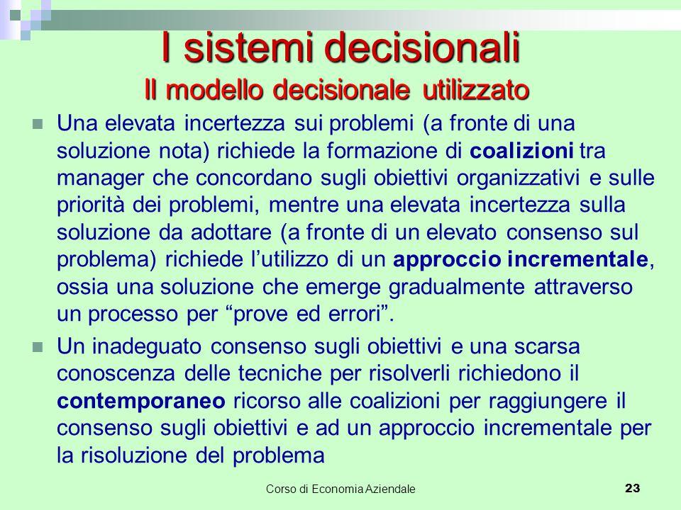 I sistemi decisionali Il modello decisionale utilizzato Una elevata incertezza sui problemi (a fronte di una soluzione nota) richiede la formazione di