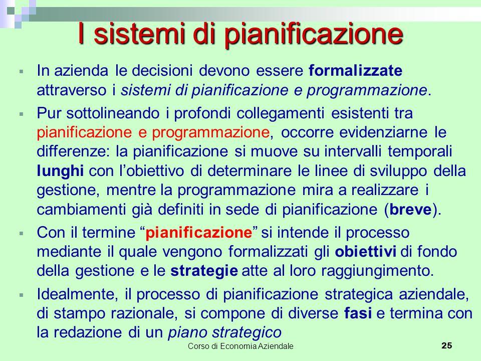 In azienda le decisioni devono essere formalizzate attraverso i sistemi di pianificazione e programmazione.  Pur sottolineando i profondi collegame