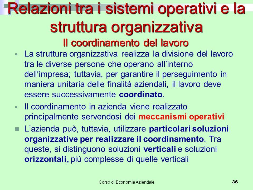  La struttura organizzativa realizza la divisione del lavoro tra le diverse persone che operano all'interno dell'impresa; tuttavia, per garantire il