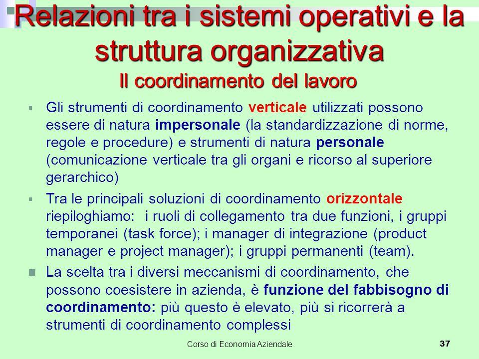  Gli strumenti di coordinamento verticale utilizzati possono essere di natura impersonale (la standardizzazione di norme, regole e procedure) e strum