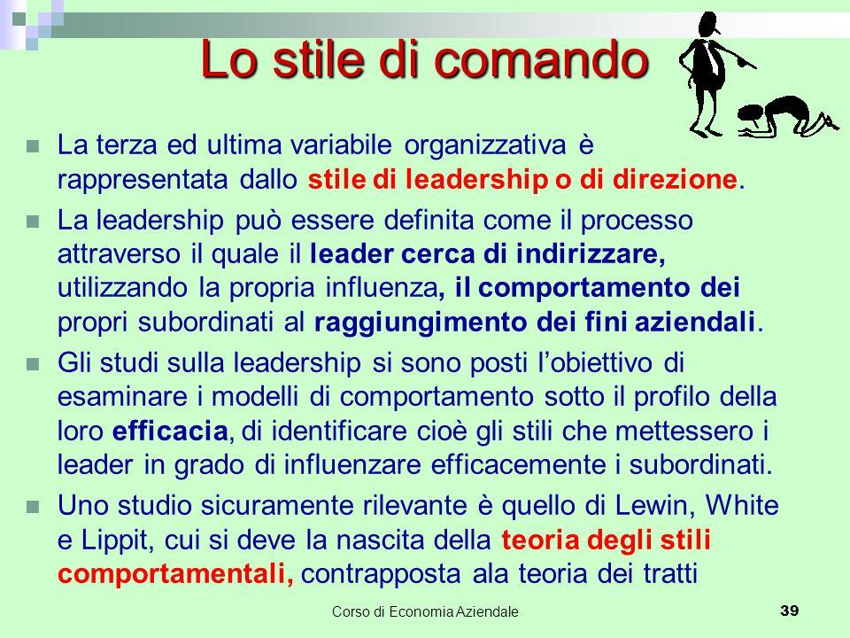 La terza ed ultima variabile organizzativa è rappresentata dallo stile di leadership o di direzione. La leadership può essere definita come il process