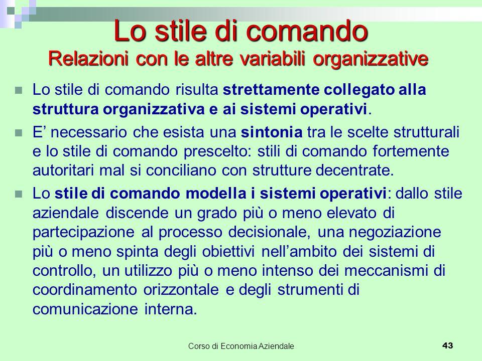 Lo stile di comando risulta strettamente collegato alla struttura organizzativa e ai sistemi operativi. E' necessario che esista una sintonia tra le s