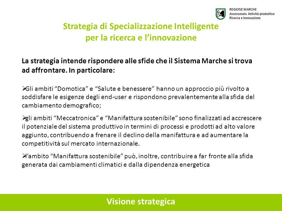 """Visione strategica Strategia di Specializzazione Intelligente per la ricerca e l'innovazione  Gli ambiti """"Domotica"""" e """"Salute e benessere"""" hanno un a"""