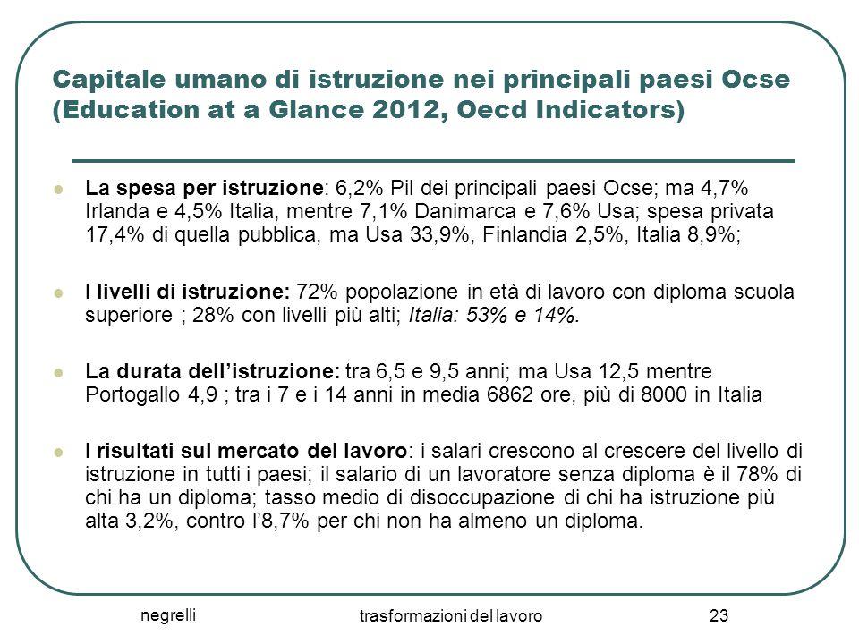 negrelli trasformazioni del lavoro 23 Capitale umano di istruzione nei principali paesi Ocse (Education at a Glance 2012, Oecd Indicators) La spesa pe