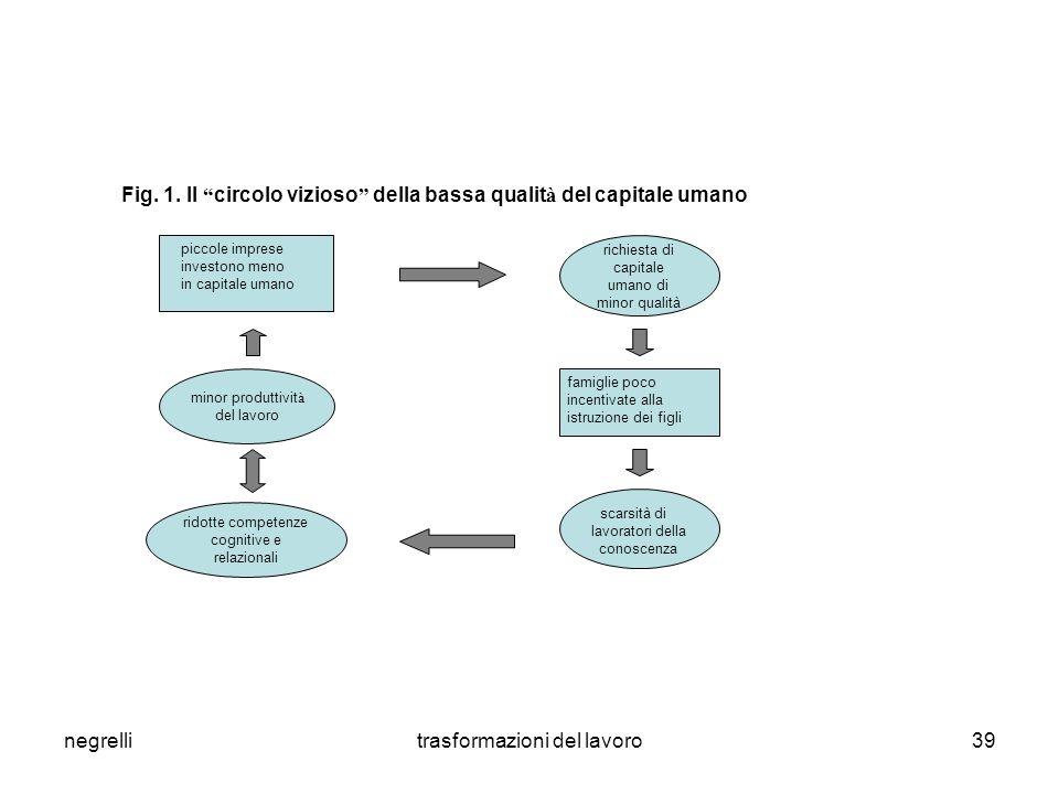 """negrellitrasformazioni del lavoro39 Fig. 1. Il """" circolo vizioso """" della bassa qualit à del capitale umano richiesta di capitale umano di minor qualit"""