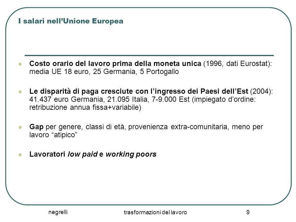 negrelli trasformazioni del lavoro 9 I salari nell'Unione Europea Costo orario del lavoro prima della moneta unica (1996, dati Eurostat): media UE 18