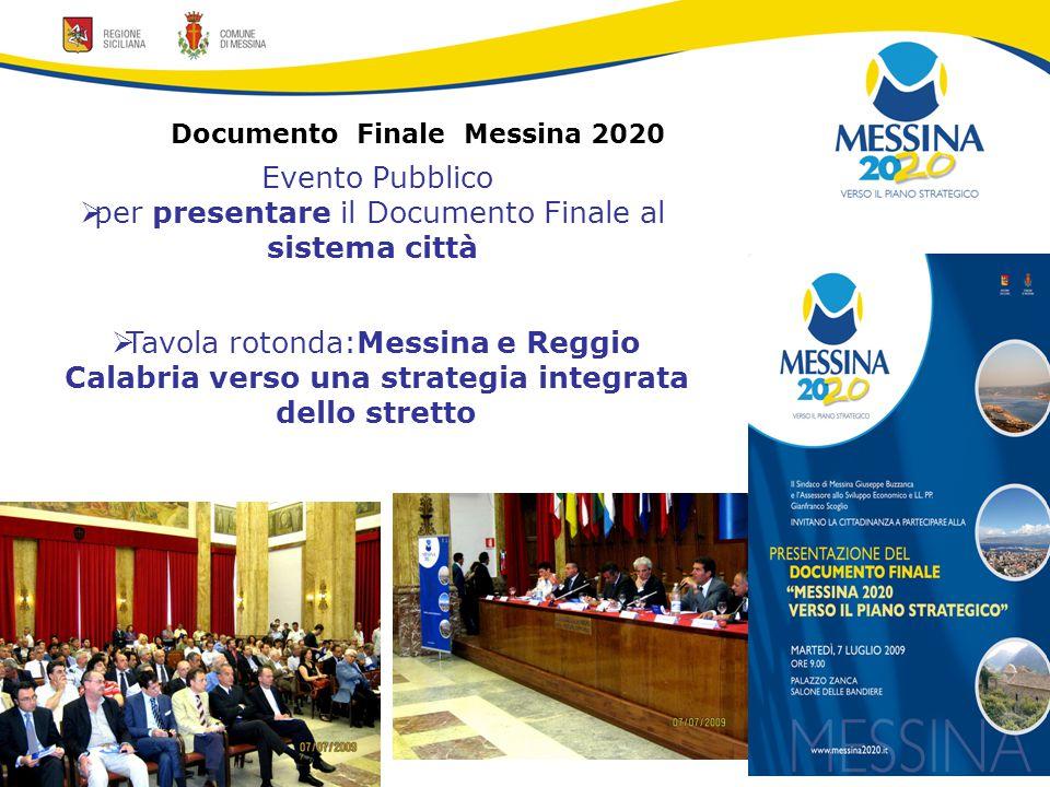 Documento Finale Messina 2020 Evento Pubblico  per presentare il Documento Finale al sistema città  Tavola rotonda:Messina e Reggio Calabria verso una strategia integrata dello stretto