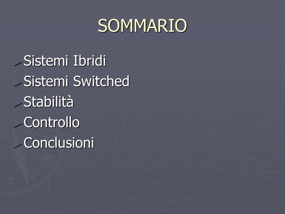 SOMMARIO ► Sistemi Ibridi ► Sistemi Switched ► Stabilità ► Controllo ► Conclusioni