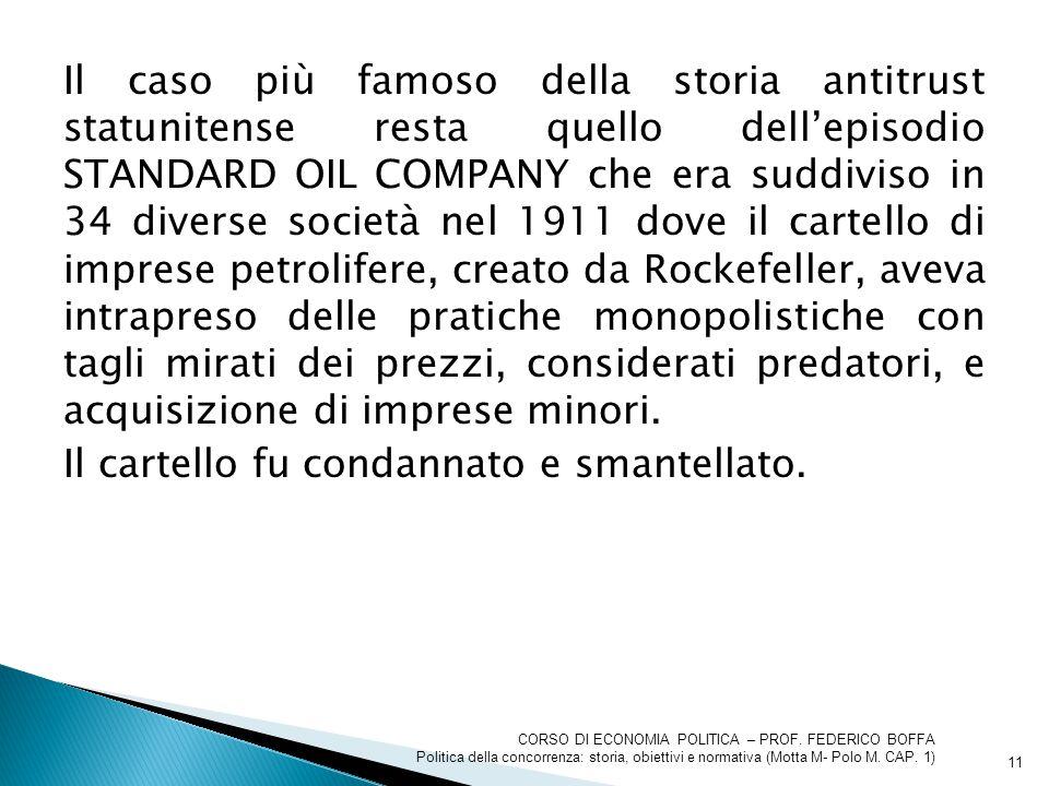 Il caso più famoso della storia antitrust statunitense resta quello dell'episodio STANDARD OIL COMPANY che era suddiviso in 34 diverse società nel 191