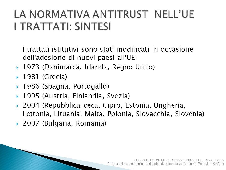 I trattati istitutivi sono stati modificati in occasione dell'adesione di nuovi paesi all'UE:  1973 (Danimarca, Irlanda, Regno Unito)  1981 (Grecia)