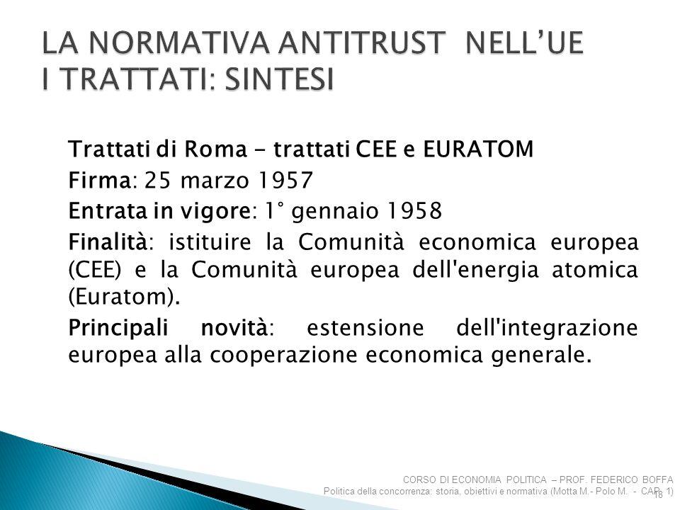 Trattati di Roma - trattati CEE e EURATOM Firma: 25 marzo 1957 Entrata in vigore: 1° gennaio 1958 Finalità: istituire la Comunità economica europea (C
