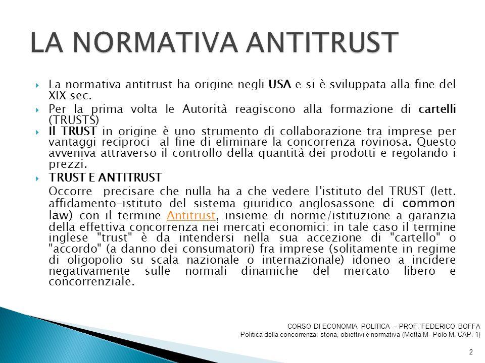  La normativa antitrust ha origine negli USA e si è sviluppata alla fine del XIX sec.  Per la prima volta le Autorità reagiscono alla formazione di