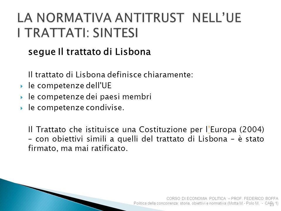 segue Il trattato di Lisbona Il trattato di Lisbona definisce chiaramente:  le competenze dell'UE  le competenze dei paesi membri  le competenze co