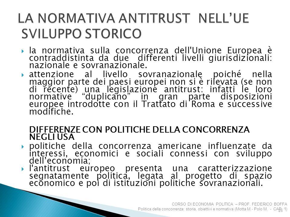  la normativa sulla concorrenza dell'Unione Europea è contraddistinta da due differenti livelli giurisdizionali: nazionale e sovranazionale.  attenz