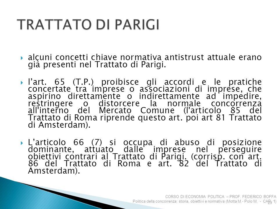  alcuni concetti chiave normativa antistrust attuale erano già presenti nel Trattato di Parigi.  l'art. 65 (T.P.) proibisce gli accordi e le pratich