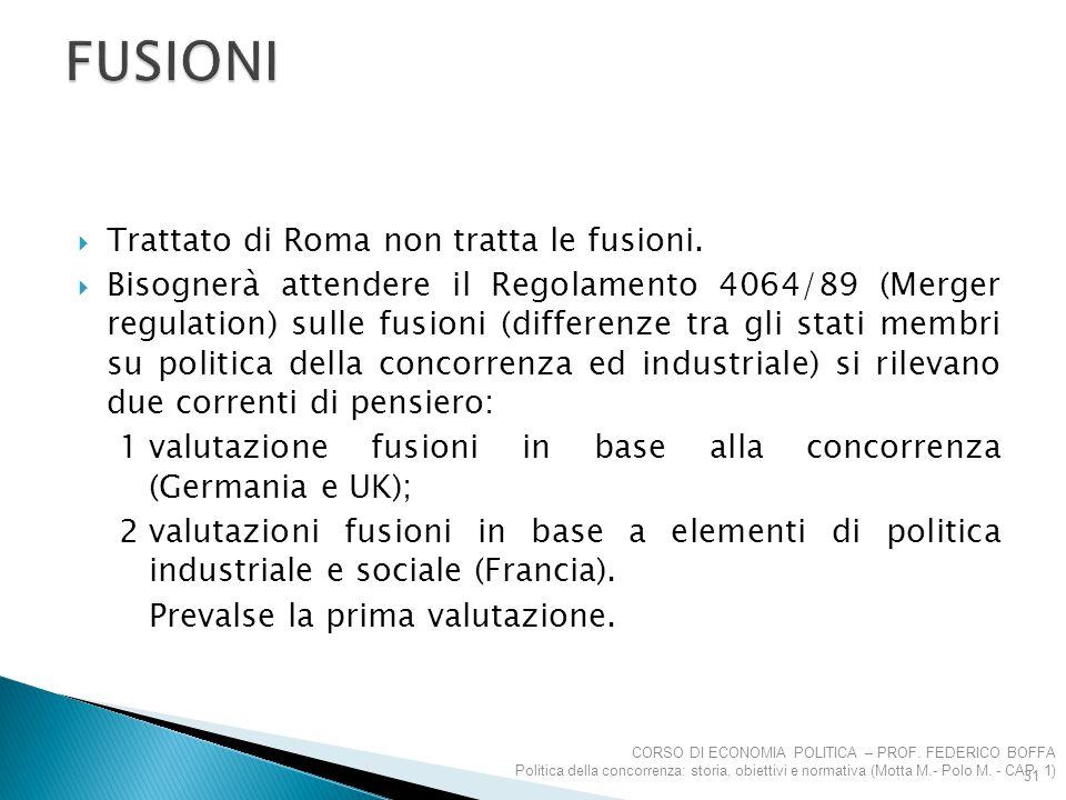  Trattato di Roma non tratta le fusioni.  Bisognerà attendere il Regolamento 4064/89 (Merger regulation) sulle fusioni (differenze tra gli stati mem