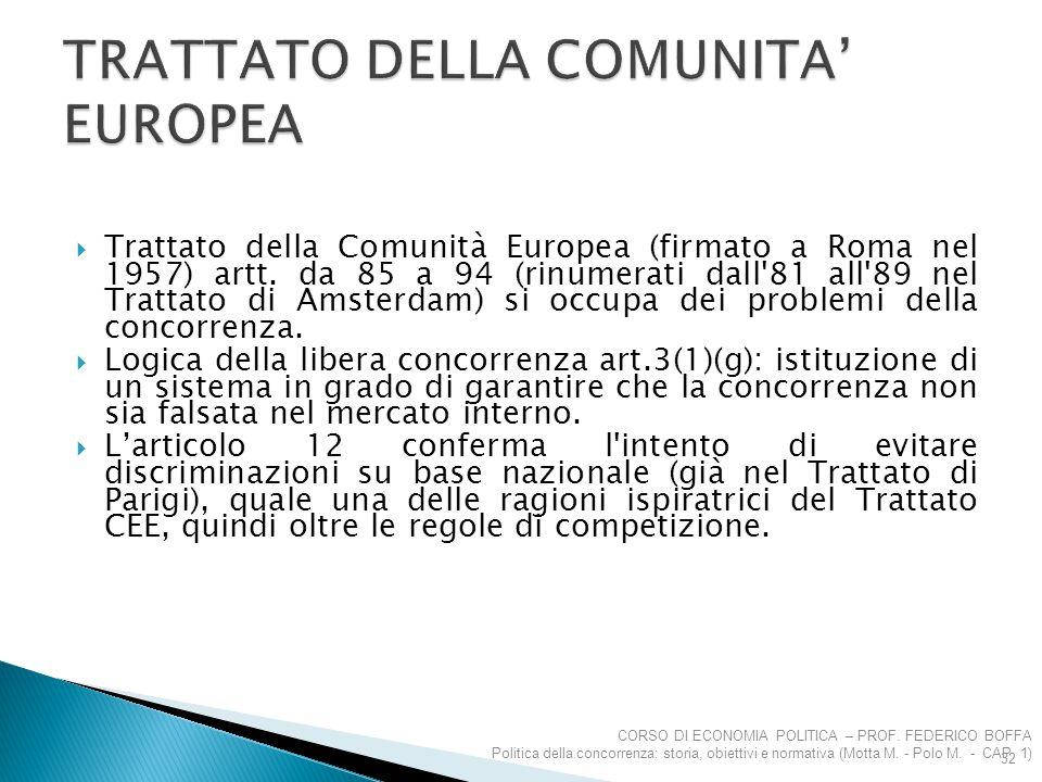  Trattato della Comunità Europea (firmato a Roma nel 1957) artt. da 85 a 94 (rinumerati dall'81 all'89 nel Trattato di Amsterdam) si occupa dei probl