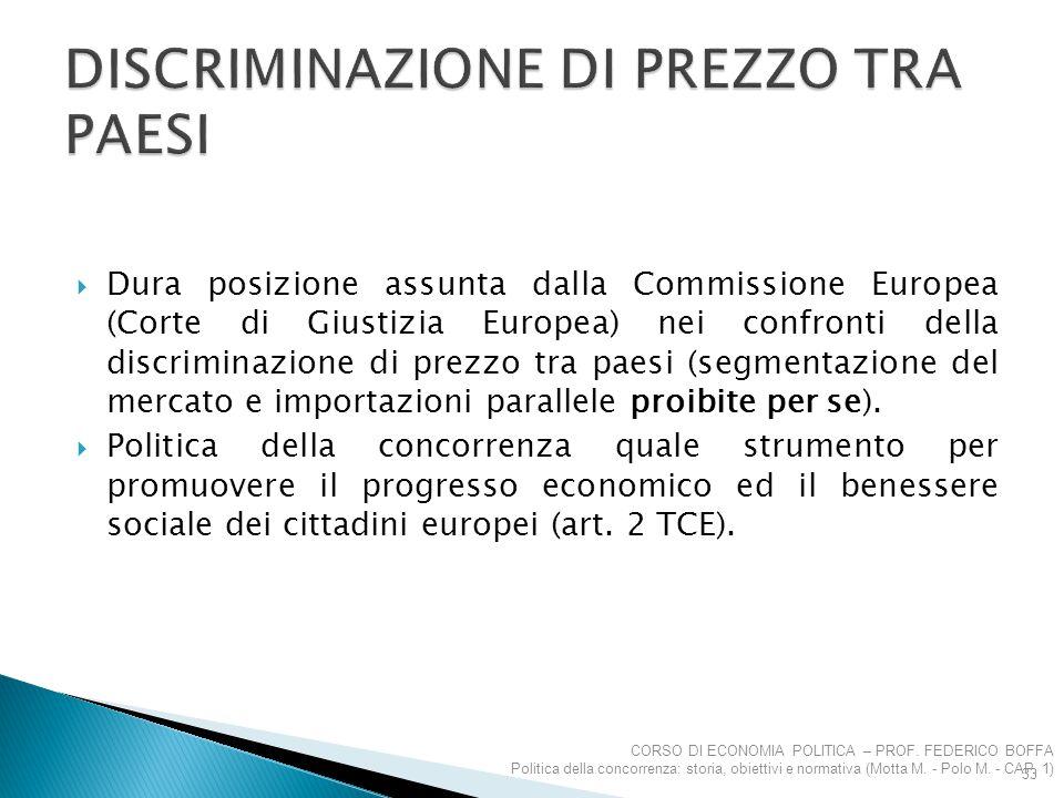  Dura posizione assunta dalla Commissione Europea (Corte di Giustizia Europea) nei confronti della discriminazione di prezzo tra paesi (segmentazione