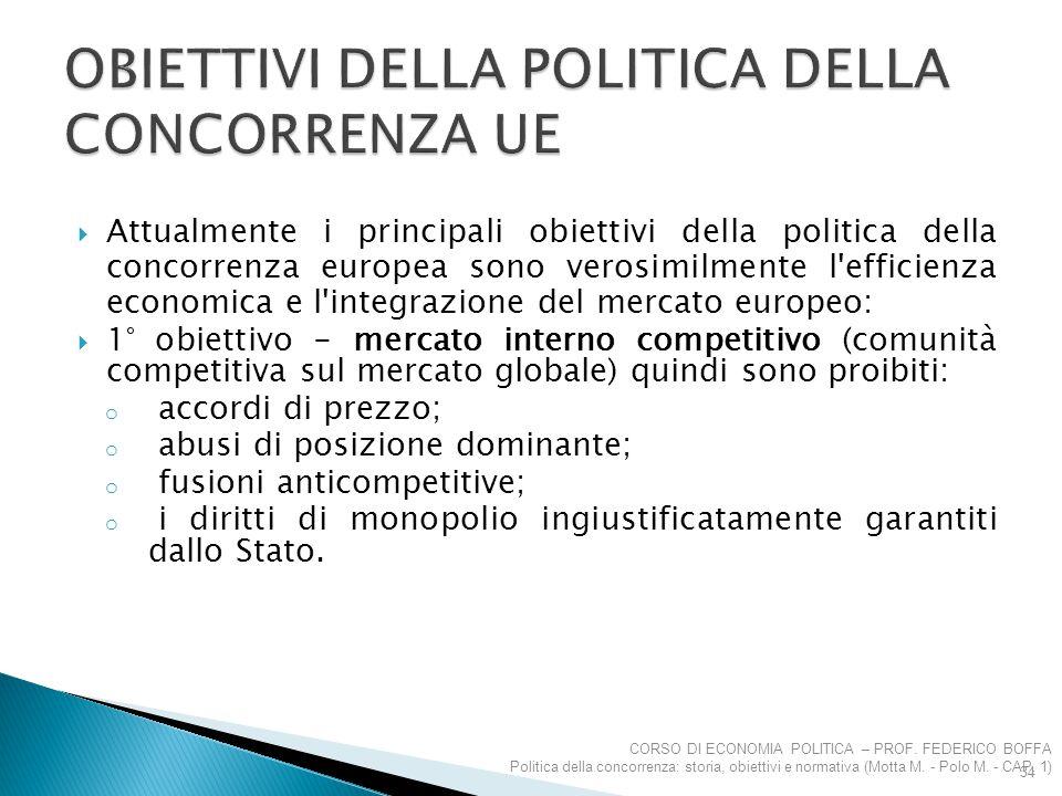  Attualmente i principali obiettivi della politica della concorrenza europea sono verosimilmente l'efficienza economica e l'integrazione del mercato