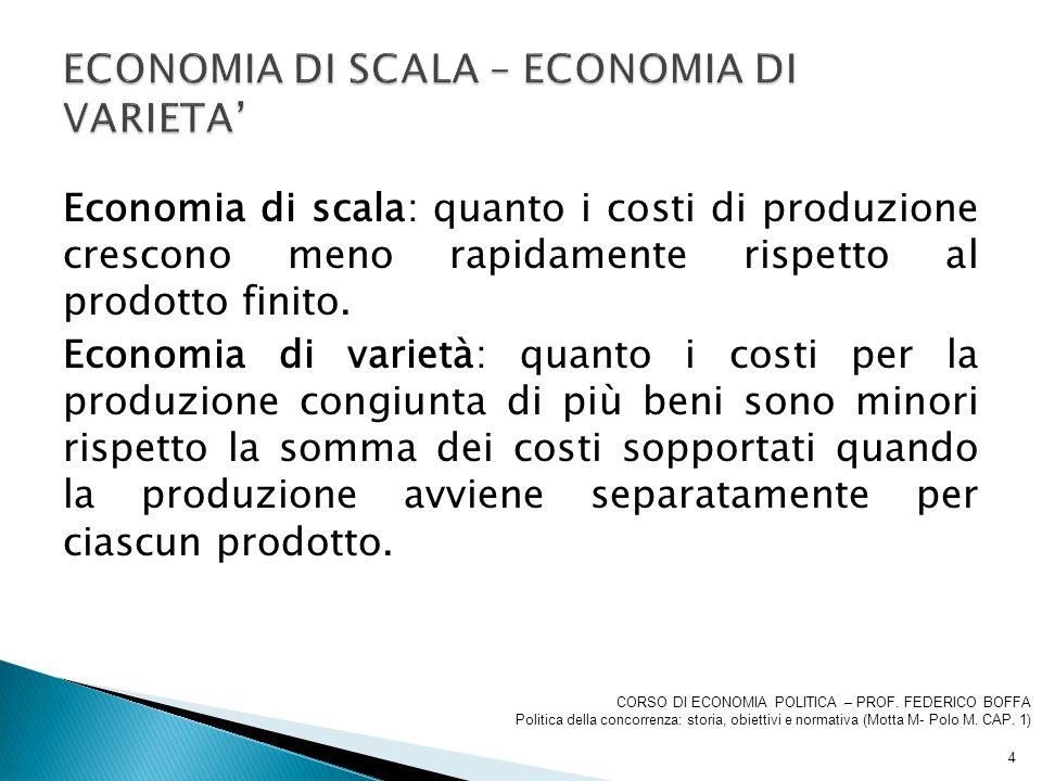 Economia di scala: quanto i costi di produzione crescono meno rapidamente rispetto al prodotto finito. Economia di varietà: quanto i costi per la prod