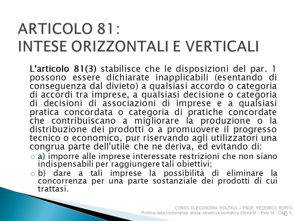 L'articolo 81(3) stabilisce che le disposizioni del par. 1 possono essere dichiarate inapplicabili (esentando di conseguenza dal divieto) a qualsiasi