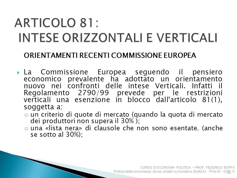ORIENTAMENTI RECENTI COMMISSIONE EUROPEA  La Commissione Europea seguendo il pensiero economico prevalente ha adottato un orientamento nuovo nei conf
