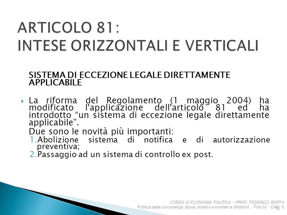 SISTEMA DI ECCEZIONE LEGALE DIRETTAMENTE APPLICABILE  La riforma del Regolamento (1 maggio 2004) ha modificato l'applicazione dell'articolo 81 ed ha