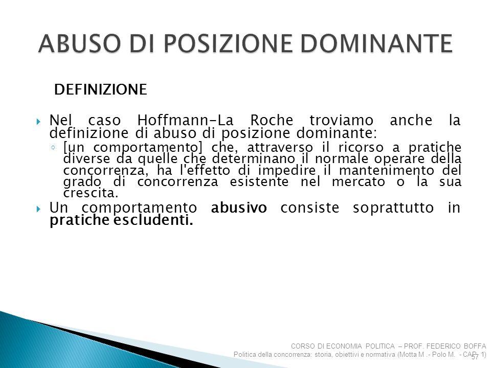 DEFINIZIONE  Nel caso Hoffmann-La Roche troviamo anche la definizione di abuso di posizione dominante: ◦ [un comportamento] che, attraverso il ricors