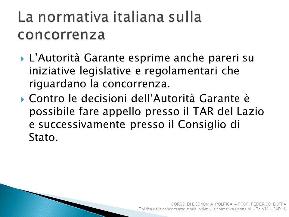  L'Autorità Garante esprime anche pareri su iniziative legislative e regolamentari che riguardano la concorrenza.  Contro le decisioni dell'Autorità