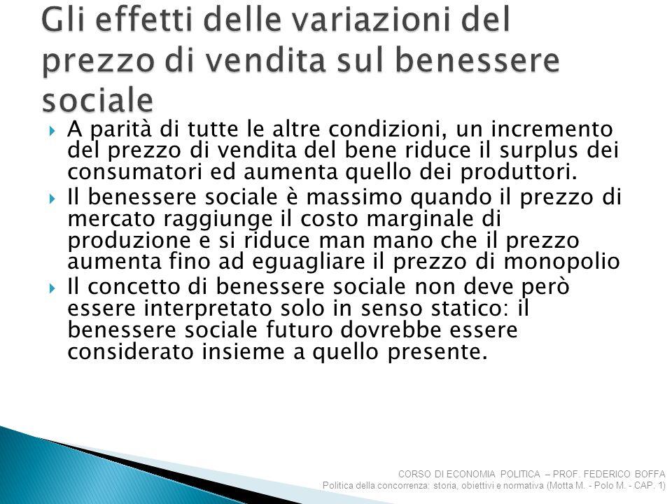  A parità di tutte le altre condizioni, un incremento del prezzo di vendita del bene riduce il surplus dei consumatori ed aumenta quello dei produtto