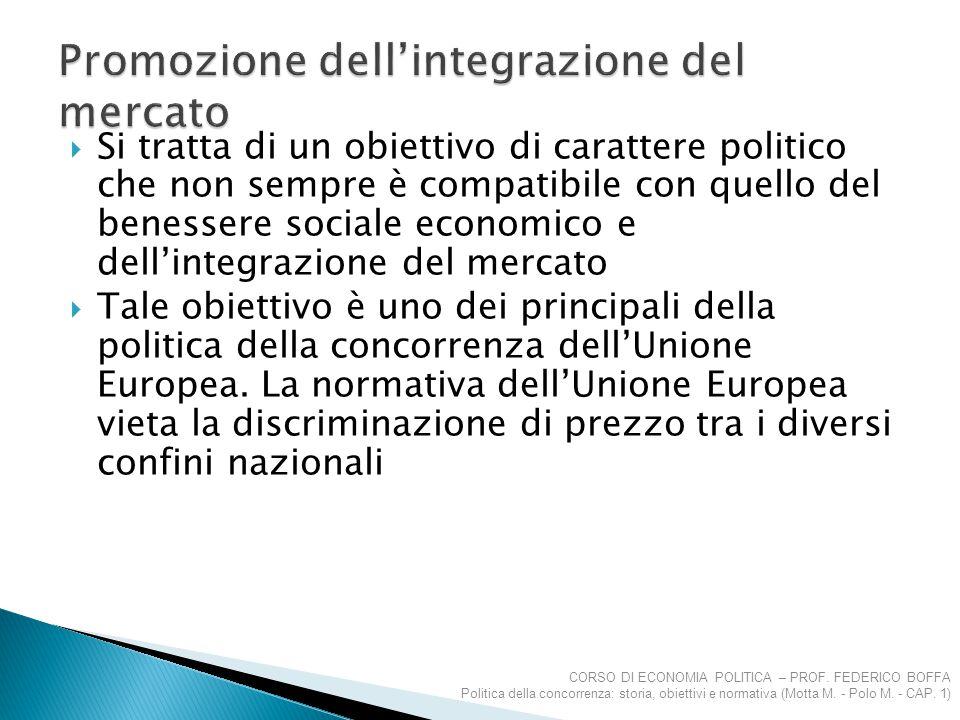  Si tratta di un obiettivo di carattere politico che non sempre è compatibile con quello del benessere sociale economico e dell'integrazione del merc