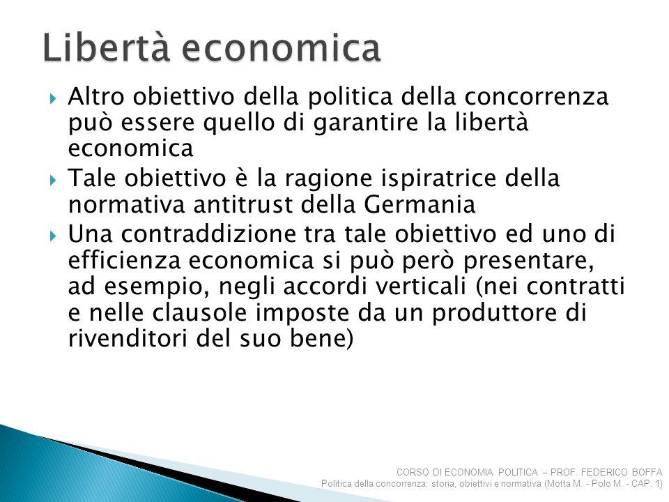  Altro obiettivo della politica della concorrenza può essere quello di garantire la libertà economica  Tale obiettivo è la ragione ispiratrice della