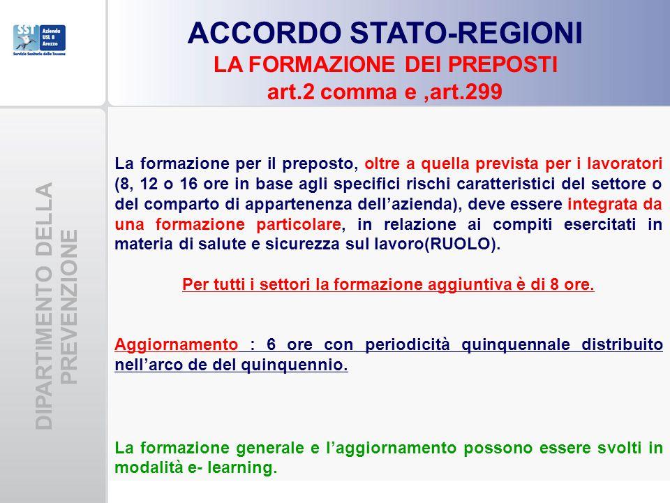 DIPARTIMENTO DELLA PREVENZIONE ACCORDO STATO-REGIONI LA FORMAZIONE DEI PREPOSTI art.2 comma e,art.299 La formazione per il preposto, oltre a quella pr