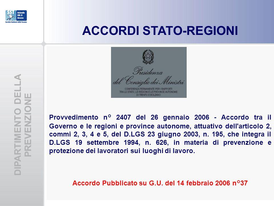 DIPARTIMENTO DELLA PREVENZIONE Provvedimento n° 2407 del 26 gennaio 2006 - Accordo tra il Governo e le regioni e province autonome, attuativo dell'art