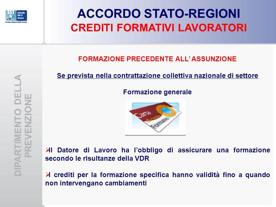 DIPARTIMENTO DELLA PREVENZIONE ACCORDO STATO-REGIONI CREDITI FORMATIVI LAVORATORI FORMAZIONE PRECEDENTE ALL' ASSUNZIONE Se prevista nella contrattazione collettiva nazionale di settore Formazione generale  Il Datore di Lavoro ha l'obbligo di assicurare una formazione secondo le risultanze della VDR  I crediti per la formazione specifica hanno validità fino a quando non intervengano cambiamenti