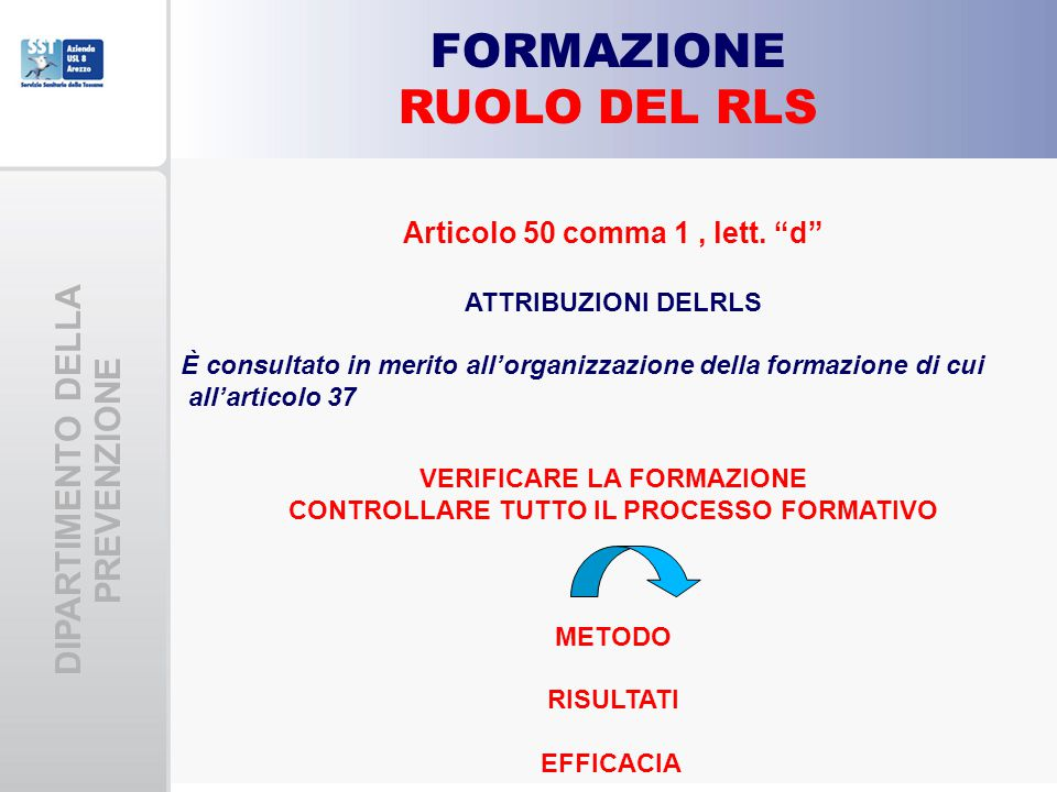"""DIPARTIMENTO DELLA PREVENZIONE FORMAZIONE RUOLO DEL RLS Articolo 50 comma 1, lett. """"d"""" ATTRIBUZIONI DELRLS È consultato in merito all'organizzazione d"""