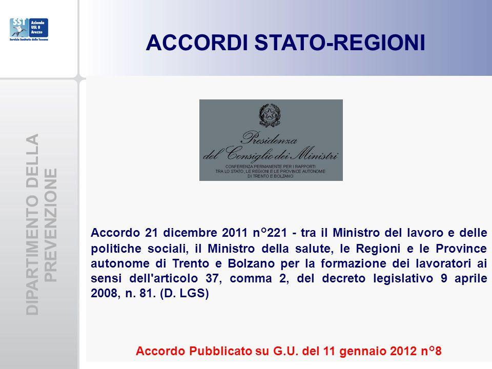 DIPARTIMENTO DELLA PREVENZIONE ACCORDI STATO-REGIONI Accordo 21 dicembre 2011 n°221 - tra il Ministro del lavoro e delle politiche sociali, il Ministr