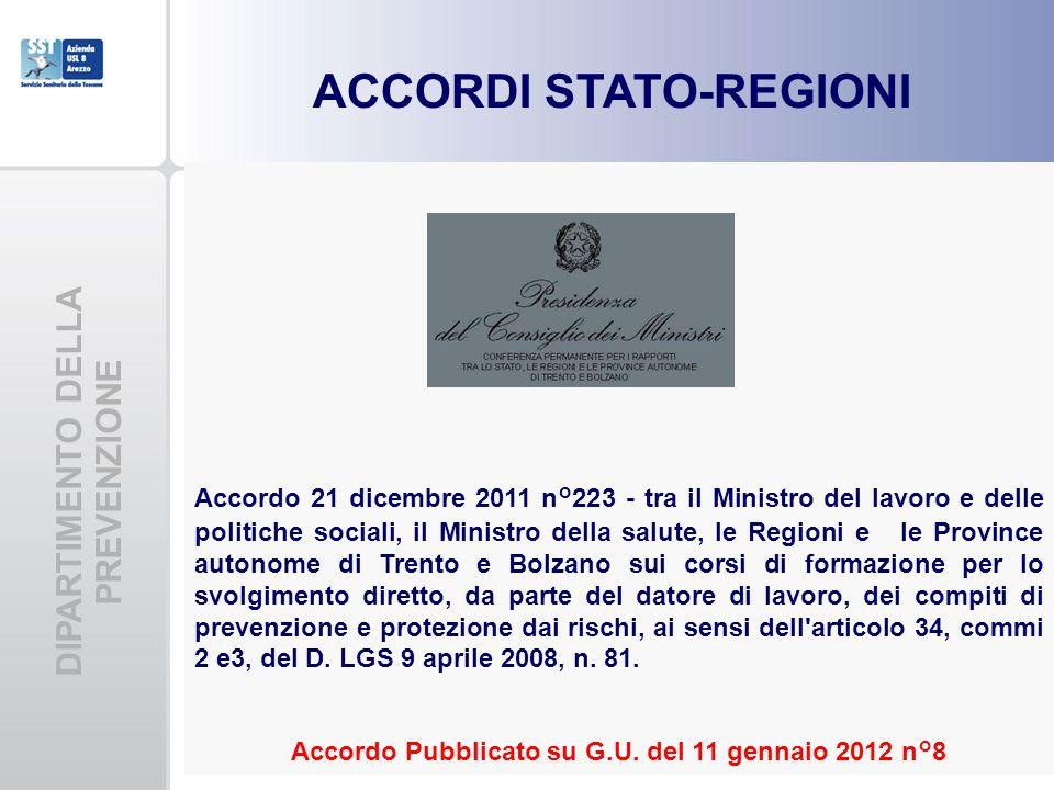 DIPARTIMENTO DELLA PREVENZIONE ACCORDI STATO-REGIONI Accordo 21 dicembre 2011 n°223 - tra il Ministro del lavoro e delle politiche sociali, il Ministr