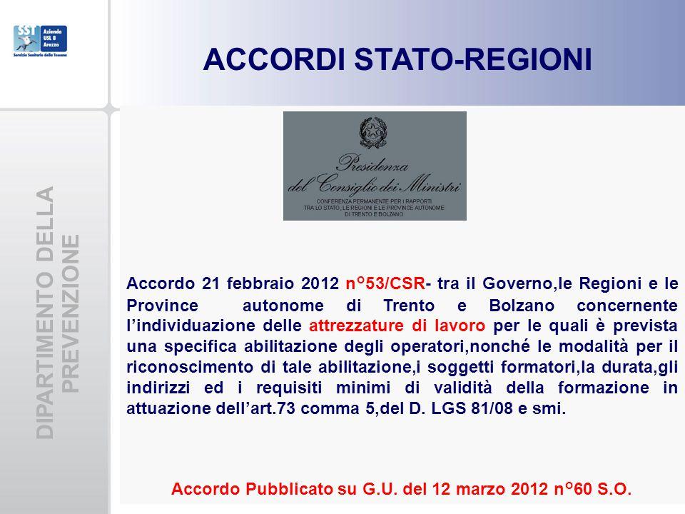 DIPARTIMENTO DELLA PREVENZIONE ACCORDI STATO-REGIONI Accordo 21 febbraio 2012 n°53/CSR- tra il Governo,le Regioni e le Province autonome di Trento e B