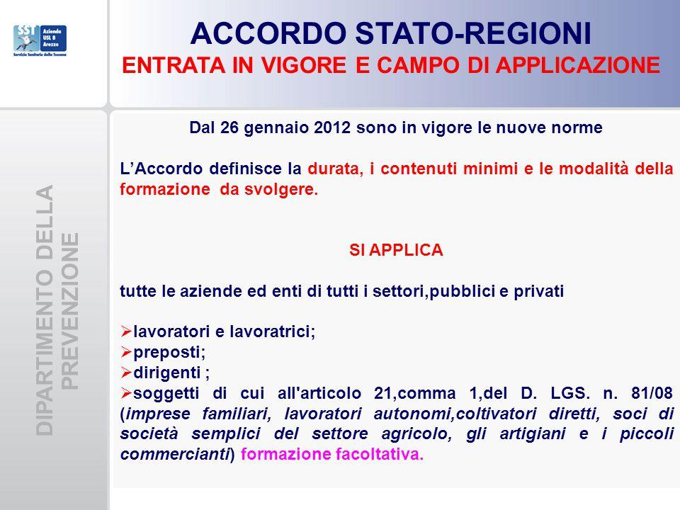 DIPARTIMENTO DELLA PREVENZIONE ACCORDO STATO-REGIONI ENTRATA IN VIGORE E CAMPO DI APPLICAZIONE Dal 26 gennaio 2012 sono in vigore le nuove norme L'Acc