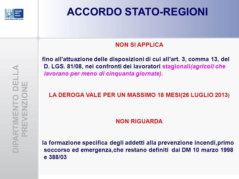 DIPARTIMENTO DELLA PREVENZIONE ACCORDO STATO-REGIONI NON SI APPLICA fino all'attuazione delle disposizioni di cui all'art. 3, comma 13, del D. LGS. 81
