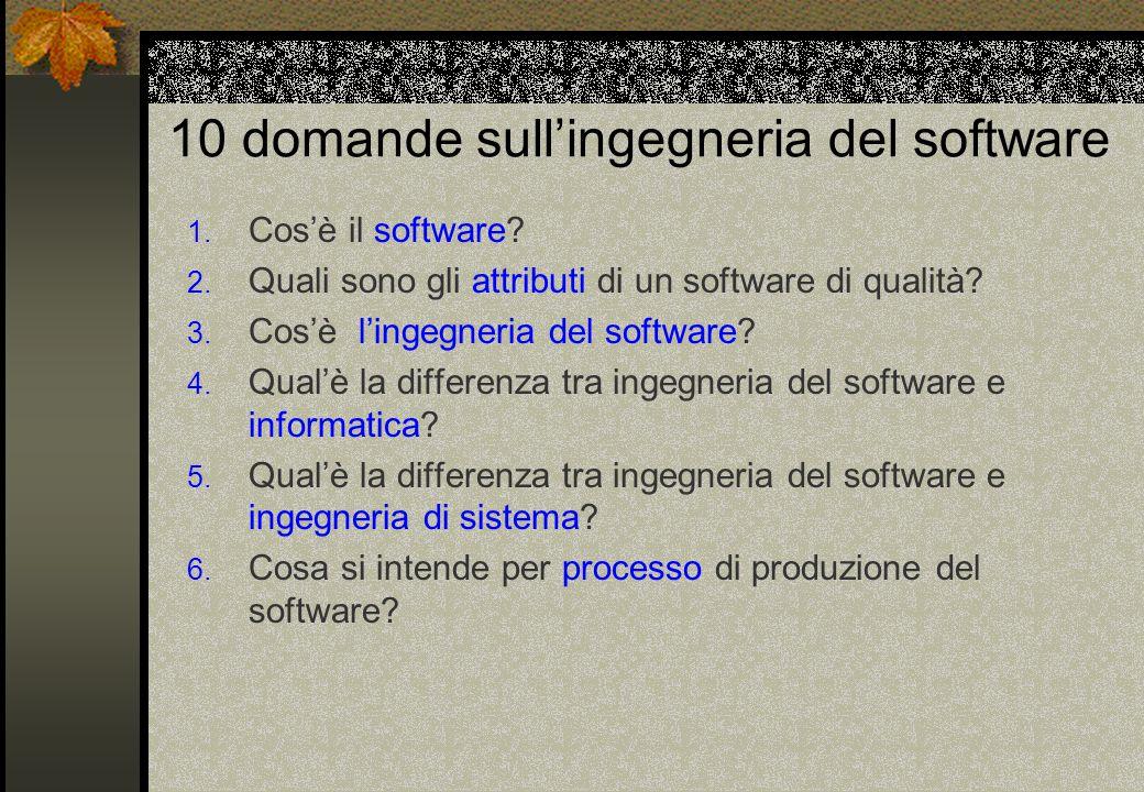 10 domande sull'ingegneria del software 1.Cos'è il software.
