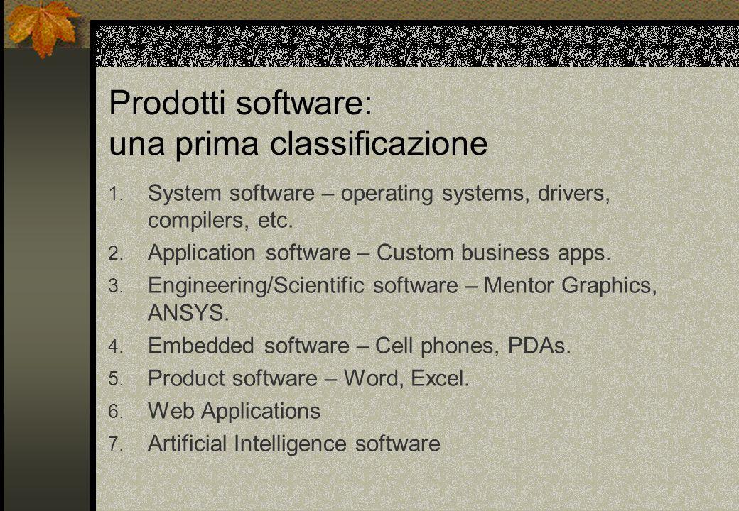 Prodotti software: una prima classificazione 1.