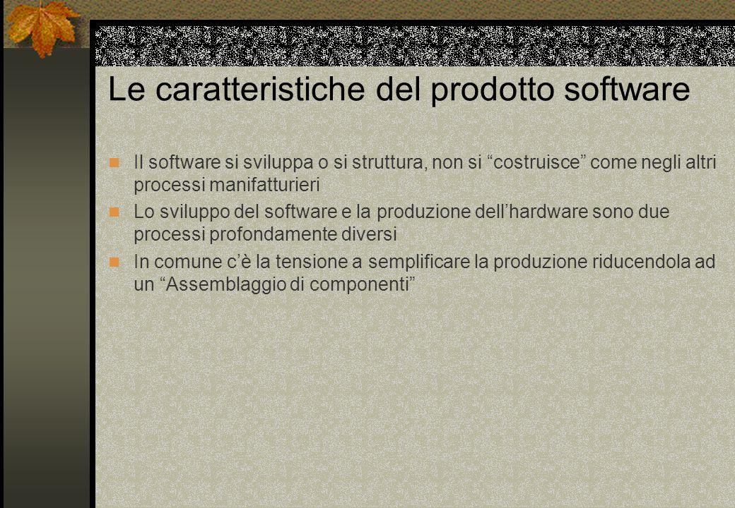 Le caratteristiche del prodotto software Il software si sviluppa o si struttura, non si costruisce come negli altri processi manifatturieri Lo sviluppo del software e la produzione dell'hardware sono due processi profondamente diversi In comune c'è la tensione a semplificare la produzione riducendola ad un Assemblaggio di componenti
